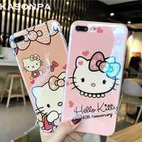 KASONPAI Blu-Ray Cartoon Cute Hello Kitty Cat Phone Case For iPhone 6 6S 7 8 Plus Lovely Case for iphone 6s Soft Phone Back Case