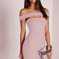 Missguided - Cut Out Panel Bardot Bodycon Dress Lilac