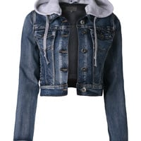 LE3NO Womens Premium Vintage Denim Jacket with Detachable Hoodie