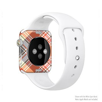 The Gray & Orange Plaid Layered Pattern V5 Full-Body Skin Set for the Apple Watch