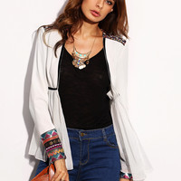 White Tape Detail Cuff Long Sleeve Outerwear -SheIn(Sheinside)