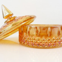 Vintage Candy Dish, Iridescent Harvest Gold Candy Dish, Carnival Glass Candy Dish with Lid, Orange Candy Dish, Vintage Carnival Glass