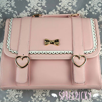 Pink/Brown Sweet Romantic J-Fashion Shiny Ribbon Triple-purpose Backpack in Lovely Vintage Preppy Style Free shipping SP130291 from SpreePicky