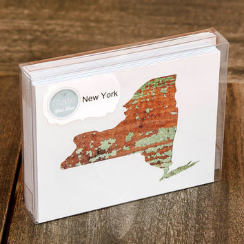 New York or any US state shape map cutout wood texture photography blank note cards. Box/12. Die cut, Thank You, Country Chic, Rustic