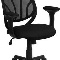 Y-GO Chair™ Mid-Back Black Mesh Computer Task Chair with Arms