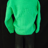 Merino Wool Hand Knit Toddler Sweater Spring Green Size 2T - 4T Baby Pullover, Hand Knitted Cardigan, Little Ones Slipover Top