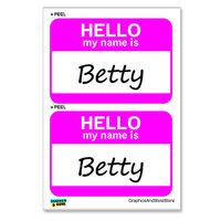 Betty Hello My Name Is - Sheet of 2 Stickers