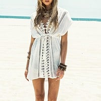White Lace Beach Summer Swimsuit Cover Up