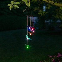 Color Changing Solar Six Red and Purple Butterfly Wind Chimes