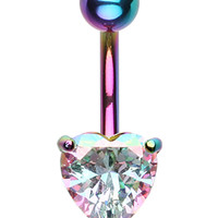 Colorline Heart Prong Sparkle Belly Button Ring
