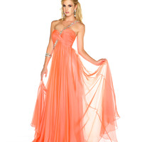 48003L Mac Duggal Prom One Shoulder Melon Chiffon Gown with Sequin & Rhinestone Embellishments