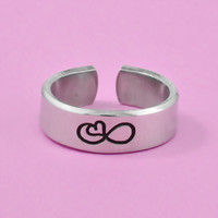 Infinity Heart Symbol - Hand Stamped Aluminum Cuff Ring, Simple Symbol Ring, Love Infinity Ring