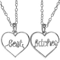 SILVER BEST BITCHES HEART NECKLACE