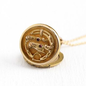 Antique Horseshoe Locket - 1900 Edwardian 12k Rosy Yellow Gold Filled Pink Paste Necklace - Double Horse Stirrup Equestrian Pendant Jewelry