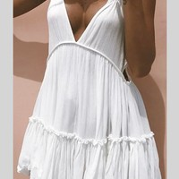 Casual White Spaghetti Strap Cut Out Backless Deep V-neck Mini Dress
