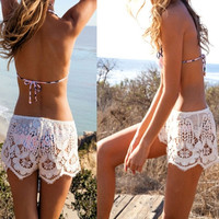 NEW Plus Size S-XXXL Sexy Womens Ladies Embroidery White Knit Lace Summer Fashion Short Beach Hot Shorts Pants = 1958127044