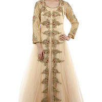 Beige Front Open Gown Dress with Floral Motifs