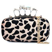 Skull handbags  Leopard Print Clutch Evening Bag