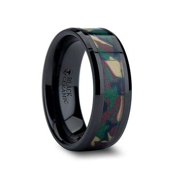 BARTEK Beveled Black Ceramic Ring With Real Military Style Jungle Camo 6mm - 10mm