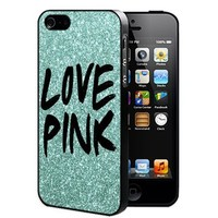Love Pink with Teal Color Glitter Background Rubber Silicone TPU Cell Phone Case (iPhone 5/5s)