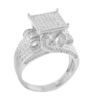 Ladies White Gold Finished Silver Lab Diamond Bridal Ring Band