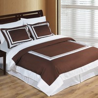 Wrinkle Free Combed cotton Hotel Chocolate/White Duvet cover set