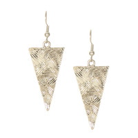 Silver Retro Triangle Drop Earrings