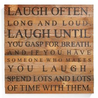 Second Nature by Hand 'Laugh Often' Repurposed Wood Wall Art - Brown