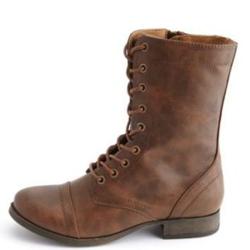 Cap-Toe Lace-Up Combat Boots by Charlotte Russe - Brown