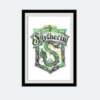 Slytherin crest watercolor print Slytherin colorful poster Harry Potter watercolor illustration Home decoration gift Kids room art  W161