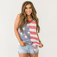 NEW! Faded Red Stripes and Navy Stars Tie Bottom Tank
