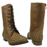 Womens Mid Calf Boots Spiked Toe and Heel Combat Casual Comfort Shoes Taupe SZ