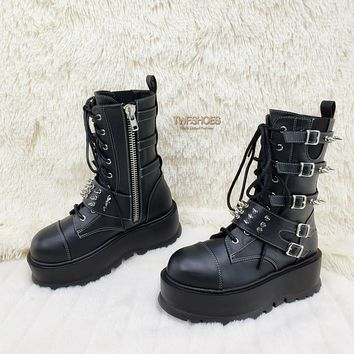Slacker 165 Black Matte Lace Up Zipper Spiked Ankle Boots US 6-12 Goth NY