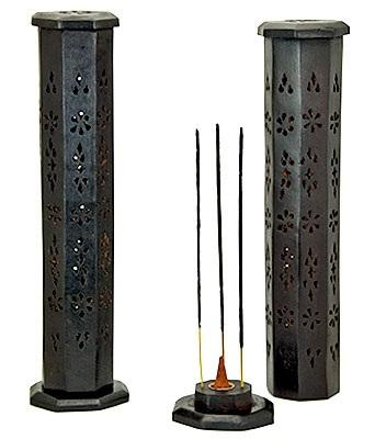 """Image of Black Wooden Tower Burner for Sticks & Cone - 12""""H - Sold as as Set of  2"""
