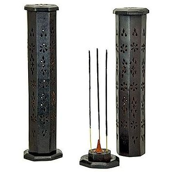 """Black Wooden Tower Burner for Sticks & Cone - 12""""H - Sold as as Set of  2"""