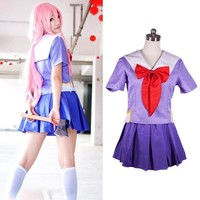Women's Anime Future Diary Cosplay Costumes Female 2nd Mirai Nikki Yuno Gasai Costume Women Halloween Party School Uniform Dress