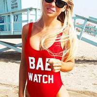 Fashion One Piece Letter Printed Swimsuit Red