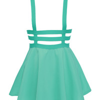 Green Lattice Cut Out High Waisted Shoulder-straps Overall Skirt - Choies.com