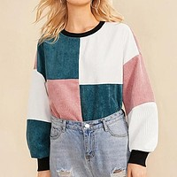 Contrast Neck and Cuff Colorblock Sweatshirt Women Pullover Cut And Sew Casual Corduroy Sweatshirts