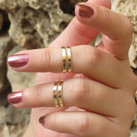 Goldfilled stacking ring, Gold ring, Knuckle ring, Gold midi ring, Ring set of 2 adjustable rings, Unique gift, Gold jewelry, Ring gift