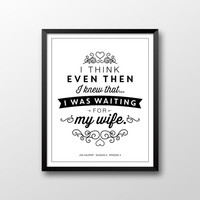 Jim Halpert Quote Printable, Waiting for My Wife Printable, Dunder Mifflin Printable, The Office Printable, Instant Download