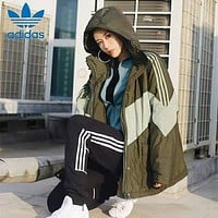 Adidas Fashion Zipper Cardigan Jacket Coat Windbreaker Hooded