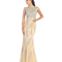 Nude Sequin Cap Sleeve Fitted Dress  2015 Prom Dresses