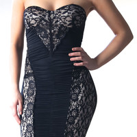 Rona Black Lace Nude Background Dress
