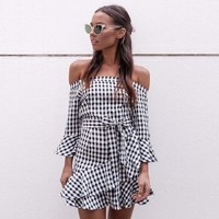 Patchwork Summer Stylish Loudspeaker Slim Plaid One Piece Dress [22466101274]