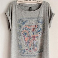Cotton T-shirt with Walking Elephant Print Grey GTQ349 from topsales