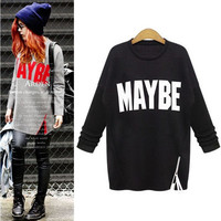Hot Popular Autumn Winter Women Velvet Alphabets Sweatshirt Top a13129