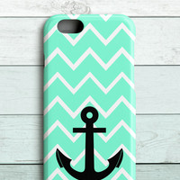 Minty Chevrons and Anchor iPhone 6 Case