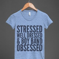 STRESSED, WELL DRESSED AND BOY BAND OBSESSED T-SHIRT BLUE (IDB720037)