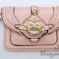 NWOT Juicy Couture Pink Leather Coni Purse with Key Ring